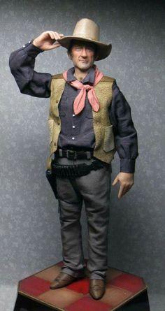 John Wayne 1:12 Scale Artisan Sculpted Doll by Sharon Cariola