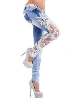 Women Hot Lace Patchwork Skinny Jeans Trousers Denim Leggings Pants Lightblue M Lace Jeans, Jeans Denim, Denim And Lace, Sexy Jeans, Skinny Jeans, Floral Jeans, White Denim, Fashion Mode, Denim Fashion