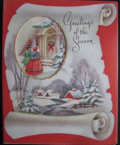 Vintage Christmas Greeting Card Village and Steam Grinnel Mid Century