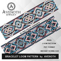 loom bracelet pattern, loom pattern, loom stitch, square stitch pattern, beading pattern, pdf file, pdf pattern, cuff, #006L