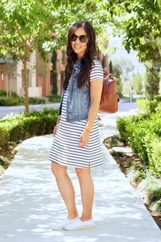 Denim Vest and Striped Tshirt Dress Outfit Striped Dress Outfit, Tshirt Dress Outfit, White Sneakers Outfit, Black Dress Outfits, Sneakers Fashion Outfits, Dress With Sneakers, Men's Sneakers, Sneakers Women, Stripe Dress