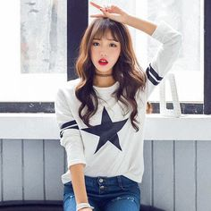 Women's #white casual long sleeve-#TShirt pattern print, round neck, Pull over, casual, shopping Occasions.