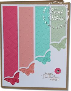 Cool card using Stampin Up Papillion Potpourri butterly stamp set and Bitty Butterly punch. Video tutorial on blog.