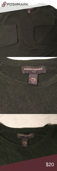 Banana Republic Sweater Dark Green Banana Republic olive green sweater in good condition!  Size XXL.          All products* sold by super22saver55 are pre-washed using Tide Pods, Downy Unstoppables, and Oxygen Orange for your convenience.  *Not including NWT products, products made of wool or sports wear.  *Sports wear products are washed with detergent and vinegar or baking soda. Banana Republic Sweaters