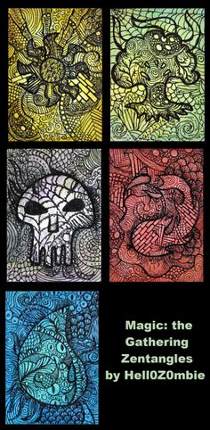 Magic: the Gathering Zentangle Artist Trading Cards (ATCs) for Swap-Bot by Hell0Z0mbie