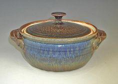 Paul Borian - Blanket Creek Pottery - casserole - amber blue - Phoenix Art Gallery