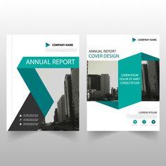 Molde abstrato abstrato verde anual relatório abrangem projeto Folheto Vetor grátis