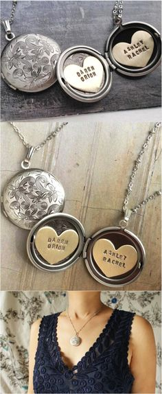 I can totally picturing giving this gorgeous engraved locket to my daughter so she can look at it for years and know how much I love her! | Made on Hatch.co by independent designers & jewelry makers