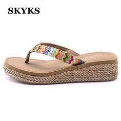 $36.19 (Buy here: https://alitems.com/g/1e8d114494ebda23ff8b16525dc3e8/?i=5&ulp=https%3A%2F%2Fwww.aliexpress.com%2Fitem%2F2016-Summer-bohemia-high-heeled-Women-s-Cane-Sandals-Flip-Flops-beach-flip-slippers-Shoes-Breathable%2F32606670159.html ) SKYKS Summer bohemia Women Cane Sandals Wedges high heeled open toe Platform woman female girl Flip Flops beach slippers shoes for just $36.19