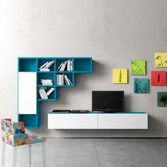 Modern wall mounted Tv media unit 'Blue' by Morassutti