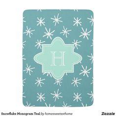 Snowflake Monogram Teal Receiving Blankets