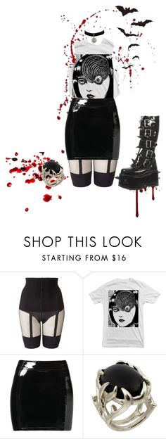 """""""uzumaki."""" by ivystardust ❤ liked on Polyvore featuring Pretty Polly, Akira, Evil Twin, House of Harlow 1960 and Demonia"""