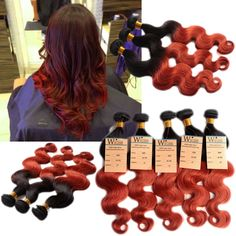 Brazilian Ombre Hair Extensions Two Tone Human Hair Weave 1b/350# 50g/Bundles #wigiss #HairExtension