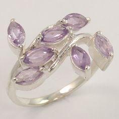 Antique Fashion Ring Size US 6.5 Natural AMETHYST Gemstone 925 Sterling Silver #Unbranded