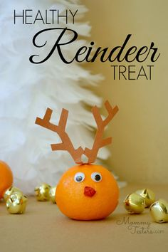 Make this healthy reindeer treat for your holiday party! Kids get a kick out of them and wouldn't you rather them eat fruit instead of chocolate?