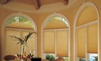 Until now there were basically three choices for an arched window treatment: use nothing, use a fixed light filtering shade or use a shutter. Now there are more choices for arched window coverings. Arched Window Coverings, Arched Windows, Window Drapes, House Windows, Blinds For Windows, Curtains, Types Of Blinds, Cellular Shades, Window Sizes