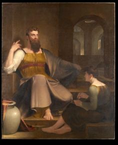Jeremiah Dictating His Prophecy of the Destruction of Jerusalem to Baruch the Scribe Date:1820 Artist:Allston, Washington, 1779-1843 Building:Yale University Art Gallery