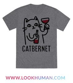 Show your love of cats and wine with this funny pun shirt. This tee features an illustration of a cat sipping down some Cabernet.