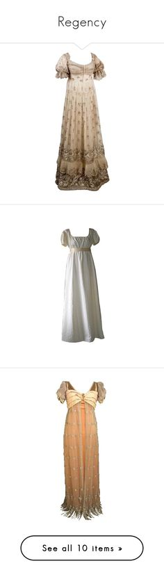 """""""Regency"""" by rebellious-ingenue ❤ liked on Polyvore featuring dresses, gowns, historical, costumes, medieval, regency, costume, period, long dresses and vestidos"""