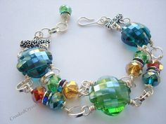 Bracelet  Faceted Glass  Jewel Tone  Swarovski  by CrookedCrystal, $23.99
