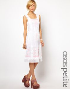 ASOS PETITE Exclusive Midi Dress with Floral Embroidery