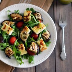 Grilled Eggplant and Halloumi Salad