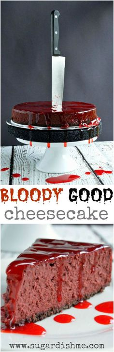 Halloween Party Recipes - Bloody Good Red Velvet Cheesecake Dessert Recipe via Sugar Dish Me