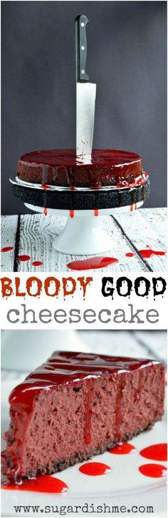 Halloween Party Recipes - Bloody Good Red Velvet Cheesecake Dessert Recipe via Sugar Dish Me