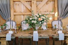Peach and Gray Farm Table with Vintage Brass | Danielle Poff Photography