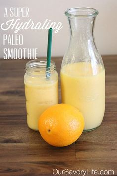 Hydrating Paleo Smoothie  - 1 cup frozen mangoes  - 1 cup, cold, 100% pure coconut water  - 1 cup 100% pure coconut milk (or almond milk)  - 1 orange, peeled  - 1 cup ice cubes