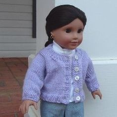 "Knit Boxy Cardigan for 18"" Dolls"