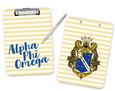 APhiO // Alpha Phi Omega // Striped Crest // by UptownGreek