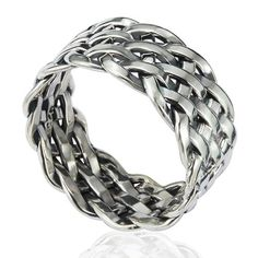 Chuvora 925 Sterling Silver 11 mm Wide Braided Tribal Celtic Knot Band / Thumb Ring - Nickle Free - Size 10