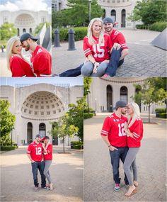 Buckeye love engagement session at Ohio Stadium on the Ohio State University campus