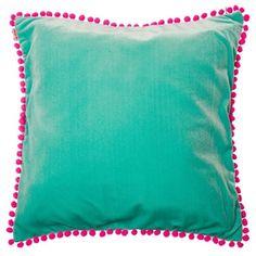 Velvet Pom Pom Cushion Cover Aqua via Byrne Byrne Store Small Cushions, Scatter Cushions, Outdoor Cushions, Velvet Cushions, Cushions On Sofa, Throw Pillows, Contemporary Cushions, Kids Room Design, Vintage Velvet