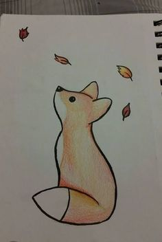 baby fox looking up at falling leaves, cute easy drawings, colored drawing on white background Doodling is proved to help concentration and memory, so we've gathered cute easy drawings to help improve your focus and relieve stress. Cool Easy Drawings, Cute Little Drawings, Art Drawings Sketches Simple, Cute Animal Drawings, Pencil Art Drawings, Colorful Drawings, Cute Drawings, Easy Cartoon Drawings, Fox Drawing