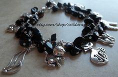 Black Cat Charm Bracelet by CellDara on Etsy