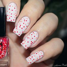 Lmcosmetic - Ecailles de sirène rouge [swatch] White base with colorful red coral dots. #nailart #nails #polish #mani - Share/explore more nail looks at bellashoot.com!