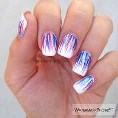 miss manicure 4th if July waterfall design