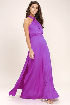 Dreams do come true in the Ever After Purple Maxi Dress! Woven poly forms a halter bodice with a front keyhole, button closures behind the neck, and adjustable spaghetti straps atop an open back. Maxi skirt with twin side slits cascades from a fitted waistline for an elegant finale. Hidden back zipper with clasp.