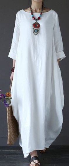Solid Color Loose Casual Round Neck Maxi Dress – Plus Size Women's Clothing Hijab Fashion, Boho Fashion, Fashion Dresses, Womens Fashion, Curvy Fashion, Fashion Rings, Vetement Hippie Chic, Vestido Casual, Dress Casual