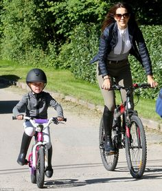 A royal ride:Crown Princess Mary of Denmark and her family are currently enjoying their second consecutive summer vacation in Grasten in south Denmark. Pictured with daughter, Princess Josephine. July 2016