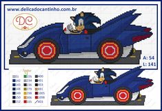 Gráfico Ponto Cruz Sonic no Carrinho Cross Stitch Patterns, Knitting Patterns, Cross Stitch For Kids, Chart Design, C2c, Cartoon Characters, Pixel Art, Crochet, Monster Trucks