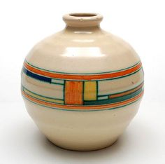 "Earthenware ""Blokjes"" vase (model no.7) with decoration of squares in yellow, blue, orange and green between orange lines on creamcoloured underground, design K.Mertens ca.1923, executed by Potterie Kennemerland, Velsen / the Netherlands Height 19.8 cm. / 7.8 inch Diameter 19 cm. / 7.5 inch"