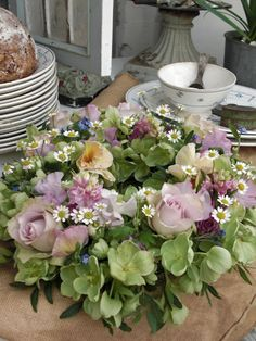 rosie ring bouquet with hellebore and feverfew
