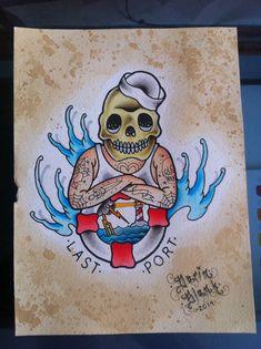 Skull sailor traditional tattoo flash by Darin Blank. Instagram: @blankenstein83