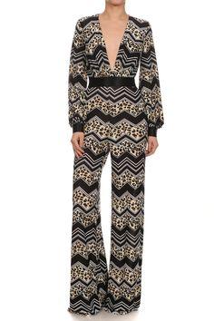 Long Sleeves Chevron Print Jumpsuit