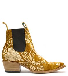 7db24dfb0d0 No.1001 FREEWAY chelsea boot- lenni the label x pskaufman... gold  embroidered velvet