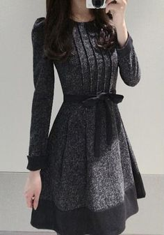 Grey Patchwork Bow Long Sleeve Elegant Cotton Mini Dress