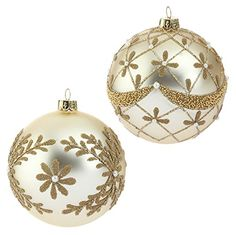 RAZ Imports - Beaded and Pearl Gold Glass Ball Christmas Tree Ornaments - Set of 2 Christmas Tree Decorations To Make, Elegant Christmas Trees, Painted Christmas Ornaments, Beaded Ornaments, Christmas Colors, Christmas Holidays, Christmas Crafts, Xmas Baubles, Christmas Interiors